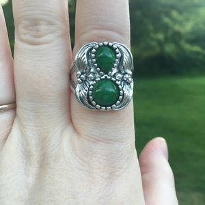 925 sterling silver & green stone chunky ring